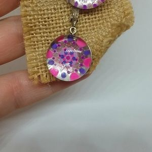 Hand painted earring and pendant